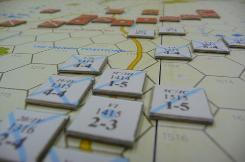 SPI's Napoleon at Waterloo (closeup of counters on board)