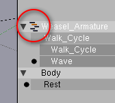 Clicking this icon in the NLA window toggles between Action and NLA mode