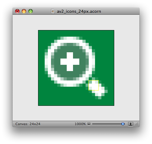 Here's the final icon in Acorn (the green is just a test background). The weird yellow rectangle is a selection hint for the line that forms the magnifying glass's handle. Yes, Acorn is a bit buggy.