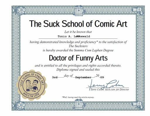 Suck School of Drawing Graduation Certificate