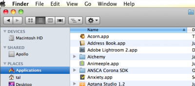 Finder's sidebar