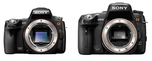 The a33 (pellicle) and a560 (relatively conventional DSLR) side-by-side size comparison