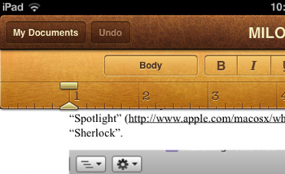 Portion of an iPad UI Screenshot (Pages) naively scaled up by 1.25