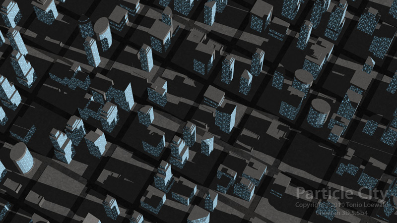 Particle City created using a scripted particle emitter.
