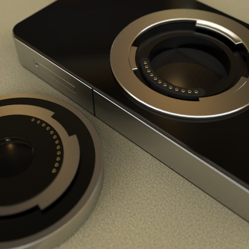 "Mockup of an ""fat iPhone 4"" with 4/3 lens mount"