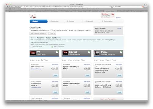 Verizon's online FiOS configurator