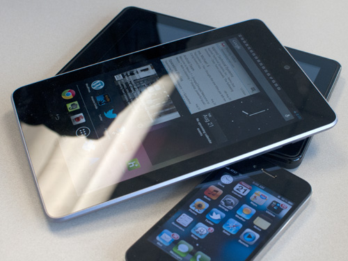 Nexus 7, iPhone 4, and Kindle Fire