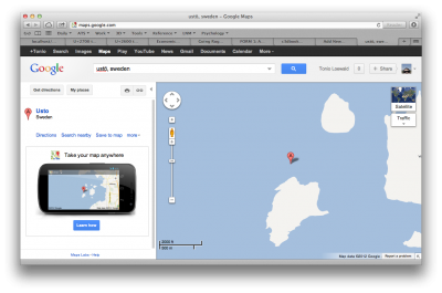 Ustö is quite hard to find using Google Maps