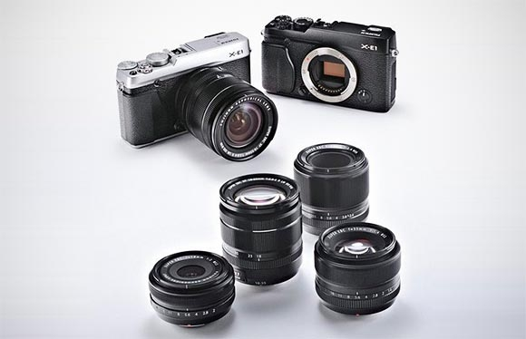 Fuji XE-1 bodies and the Fuji XF lens range — four fast primes and one fast zoom