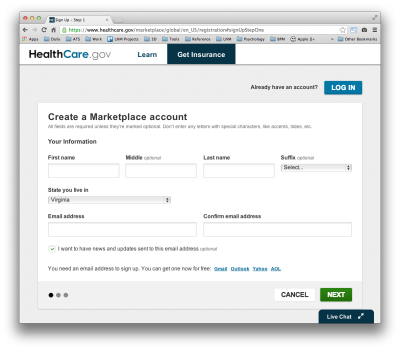 healthcare.gov sign in page