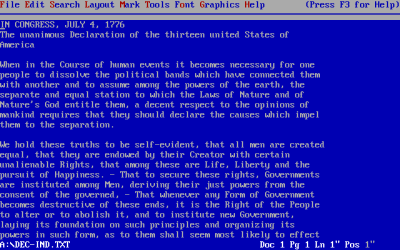 "Wordperfect 5.1 for DOS (image from wikimedia.org). Note the F3 for help (F1 was more of a ""standard""). While it has an Edit menu, ""cut and paste"" weren't supported (it had block and move functions instead). And bold was F6 rather than ctrl-B."