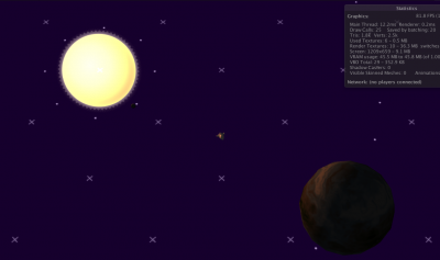 Flying my untextured spaceship around an undecorated, partially implemented solar system