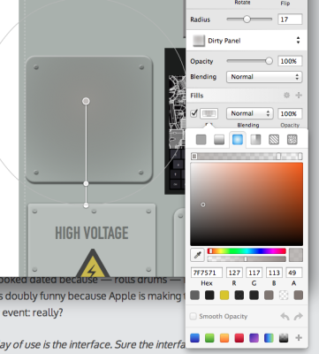 Sketch 3's interface is generally very refined and nearly modeless (thanks to the popout floating thingies it uses everywhere). Note the in-context gradient editor, automatically detected colors, and just how much freaking functionality is jammed into how small a space.