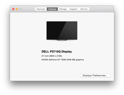 About this Mac — Displays