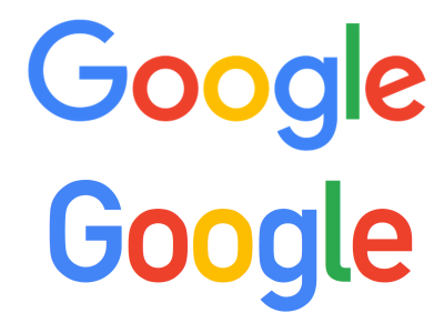 Google in modified Futura (top) vs. DIN Alternate (bottom)