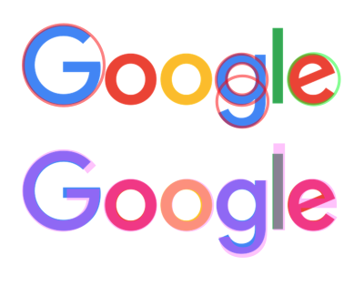 Google's new logo overlaid with circles (top) and Futura (bottom)