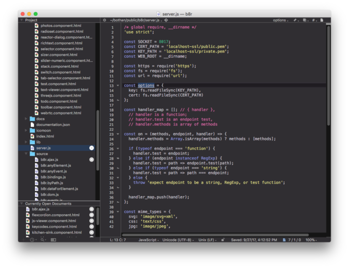 BBEdit 12 (dark theme) in action