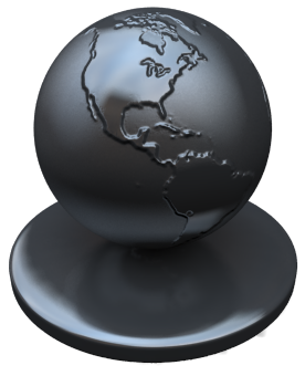 A simple metal globe demonstrating several new features at once including shadow catchers (barely noticeable), anisotropic materials, and a fairly complex shader.